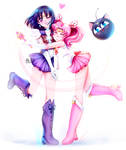 Sailor saturn and sailor ChibiMoon