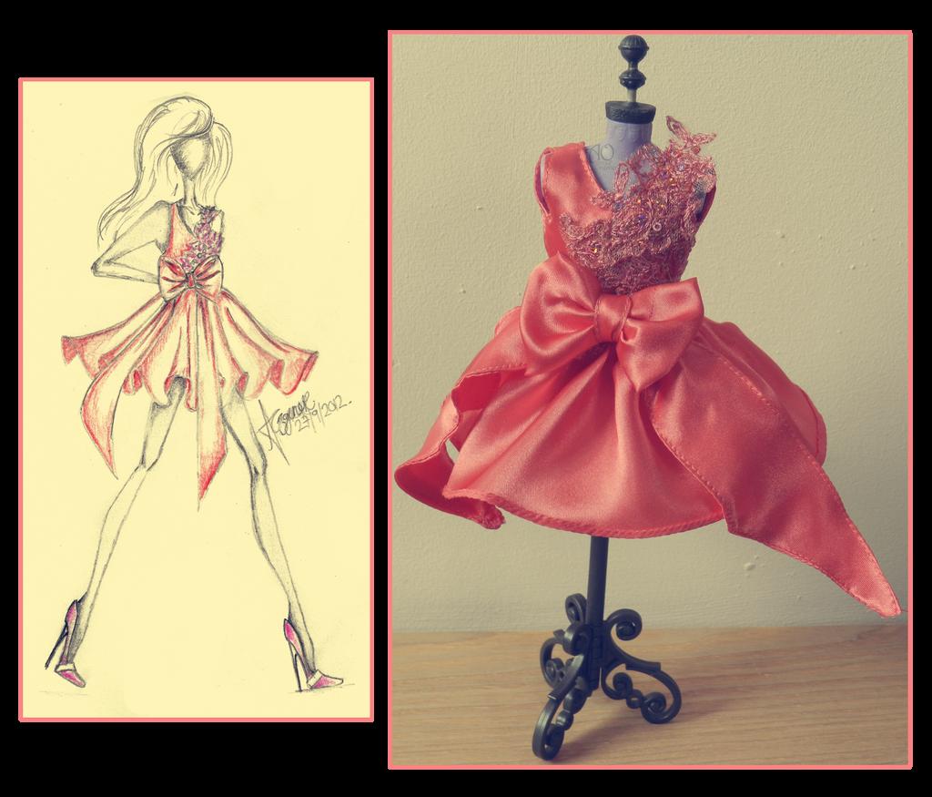 Peach Dress Making by AlirizaDesign