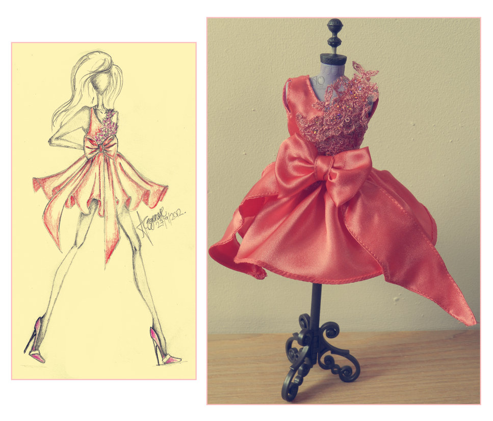 Peach Dress Making by AlirizaDesign