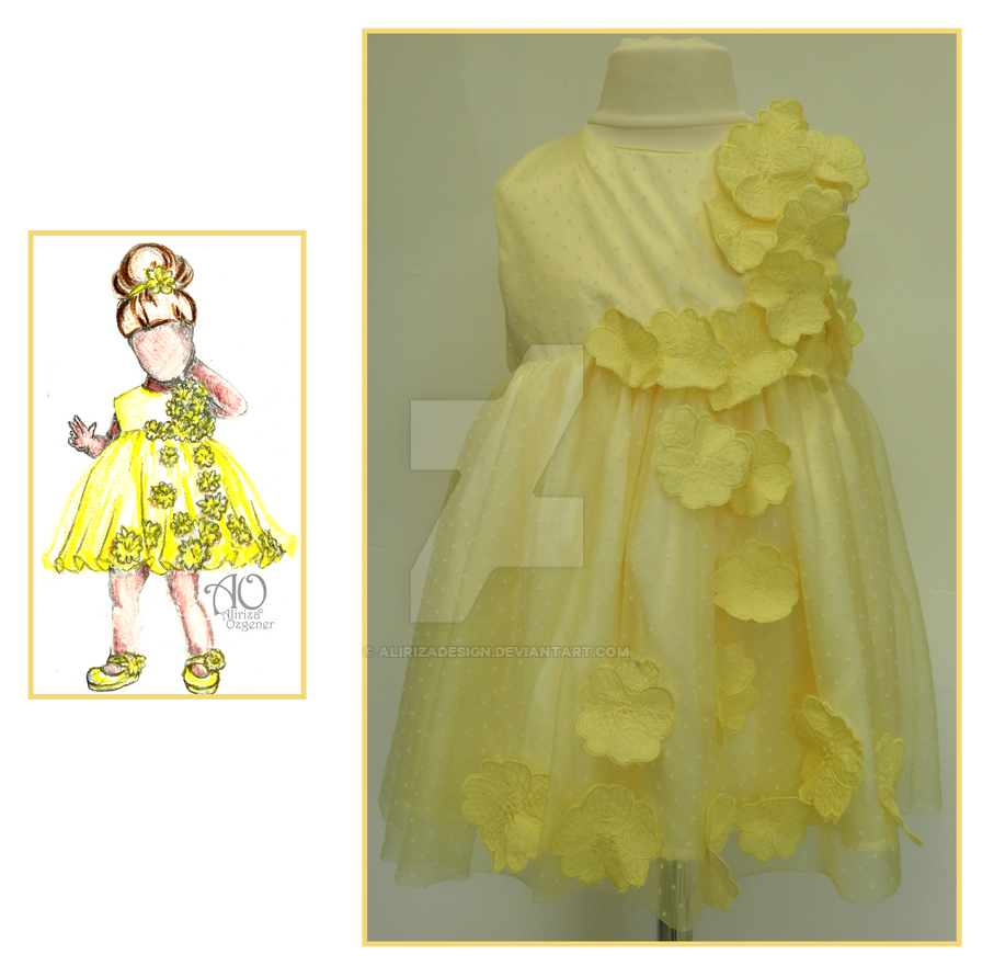 Toddlers Dress (Yellow Flower) by AlirizaDesign