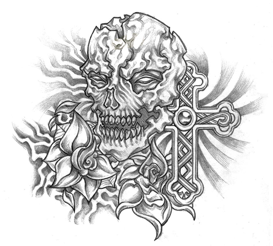 Skull and Cross Tattoo with Roses