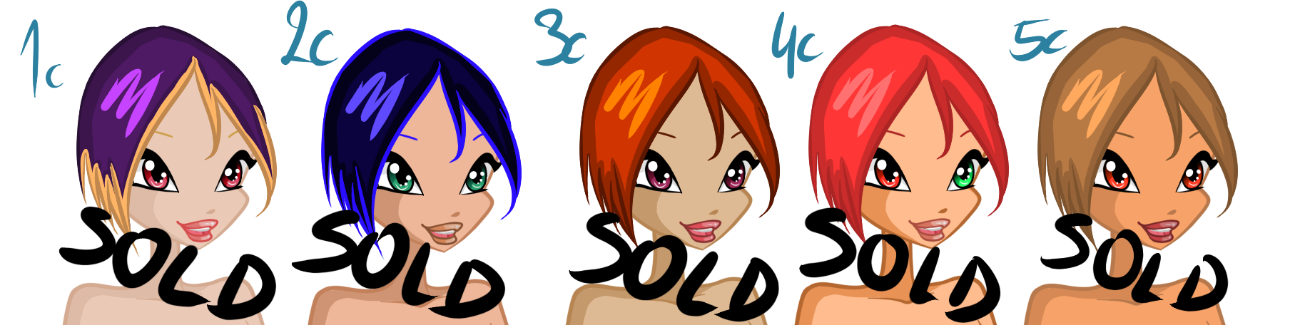 KGF's Winx Adoptables  - Color Palettes by KillerGirlFuria