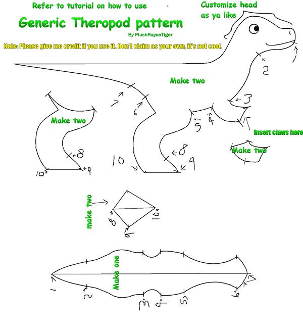 Theropod Plush Pattern by PlushRayseTiger
