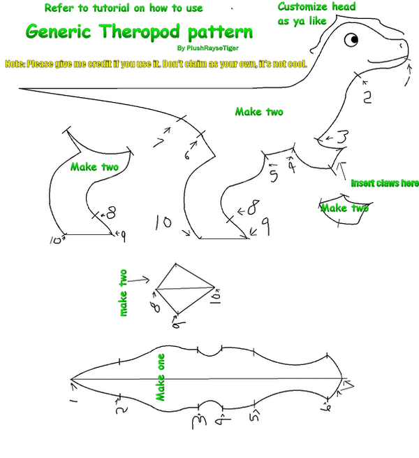 Theropod Plush Pattern By Plushraysetiger On Deviantart