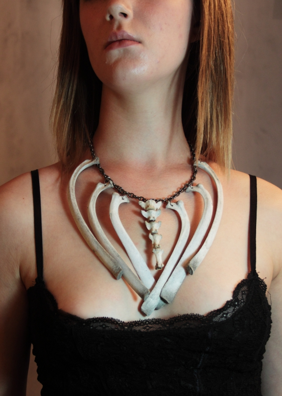 Caged Spine Necklace by Hands-and-Teeth