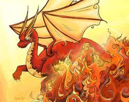Dragon in fire by TwoHorizonsArt