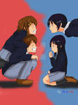 Mio and Yui with their boy ver
