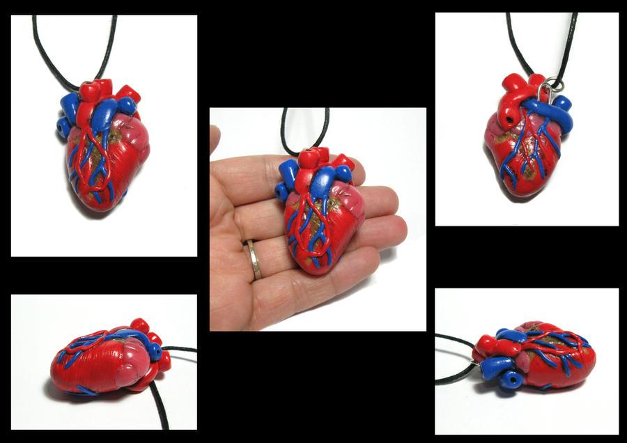 Anatomical Heart Pendant by Devilish--Designs