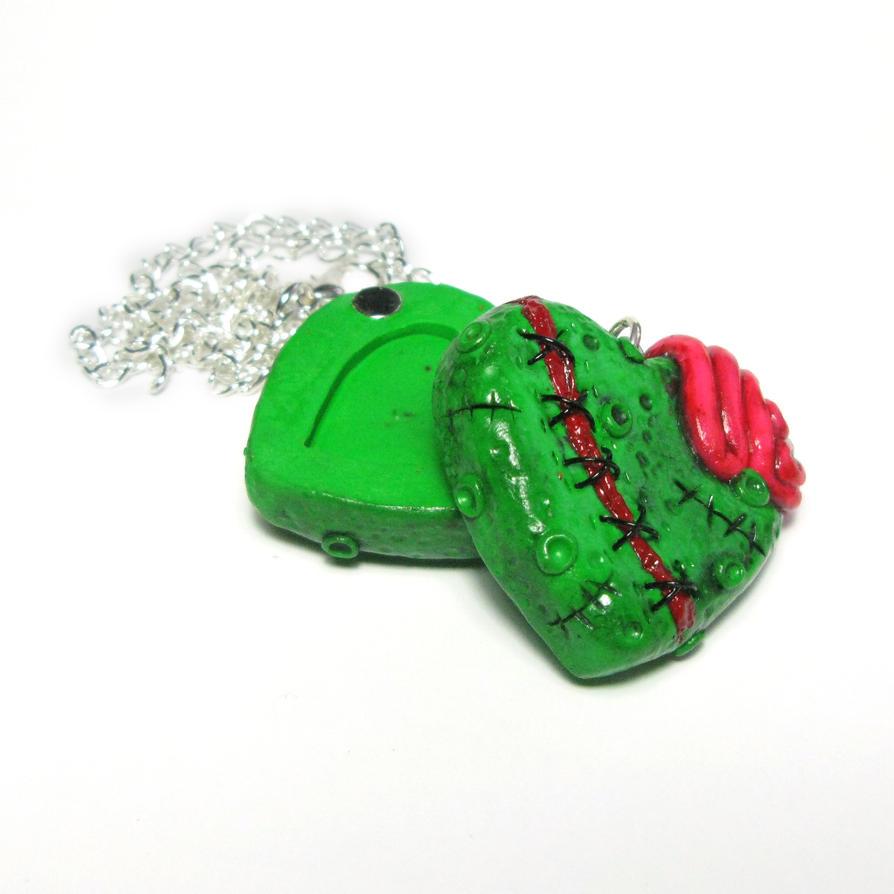 Zombie heart locket by Devilish--Designs
