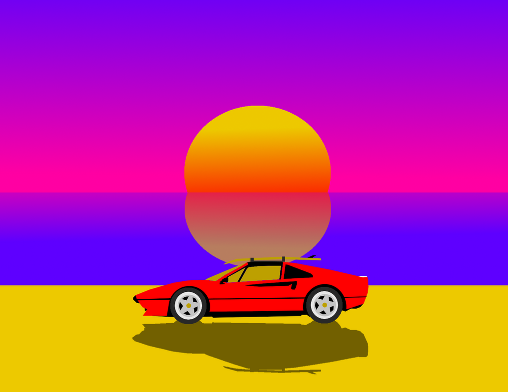 RetroWave Sunset by Rise-Comics