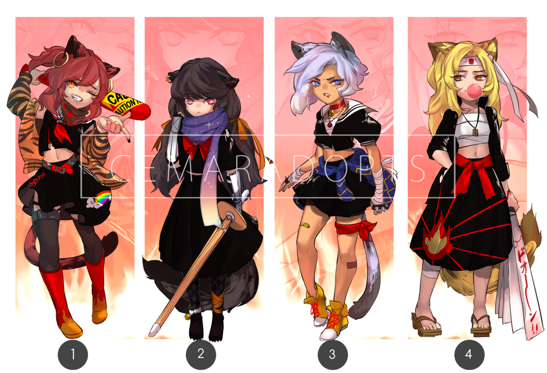 [OPEN Set Price] Rebel Cats Girl ver. by CemarAdopts