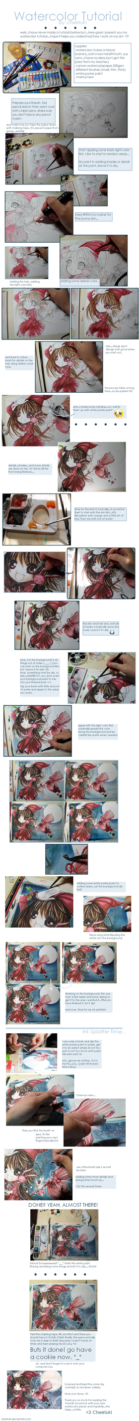Watercolor Tutorial by cherriuki
