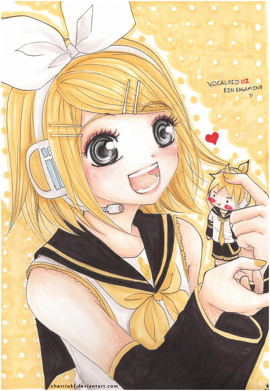 Kagamine Rin +Chibi Len by cherriuki