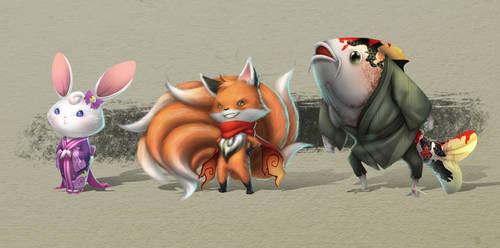 Usa, Kitsu and Koi by Aecclesia