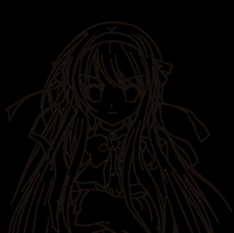 Line Art Hair : Long hair manga art coloring pages