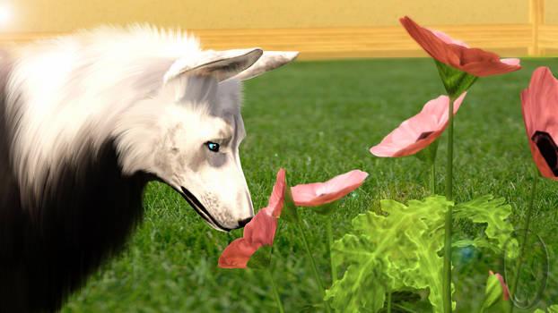 Sims 3 - Krahviik Dog inspecting Flowers