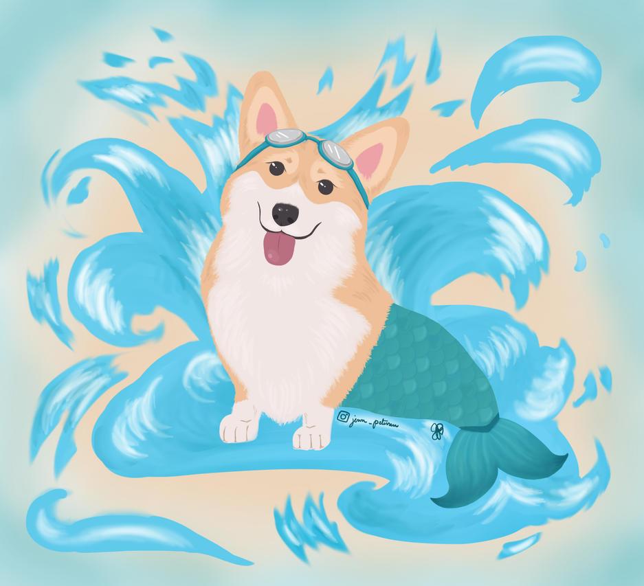 Corgi Mermaid by LingersLongOnLoveSt
