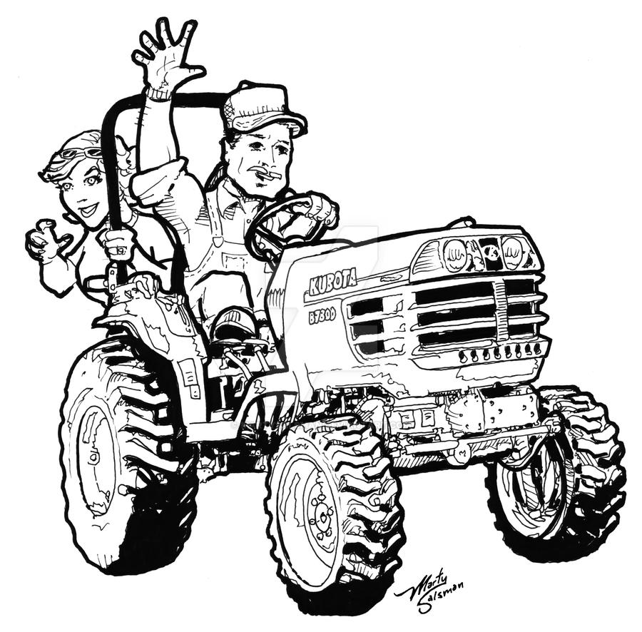 Drawing Man On Tractor : Kabota tractor toon by martysalsman on deviantart