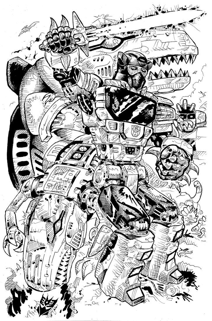 Grimlock BnW by MartySalsman