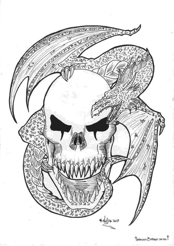 demon skull dragon tattoo by darkdemonwolf on deviantart. Black Bedroom Furniture Sets. Home Design Ideas