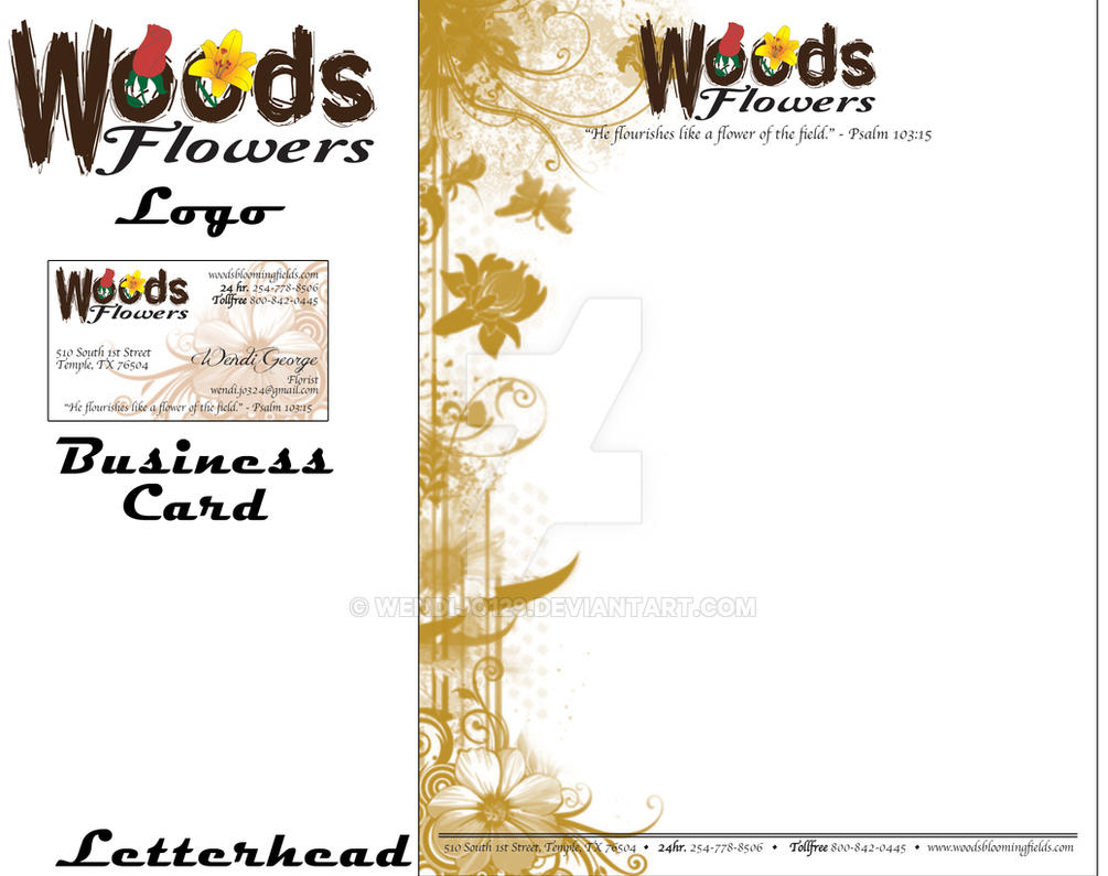 Woods Flowers Logo, Business Card, Letterhead by KriticKilled on ...