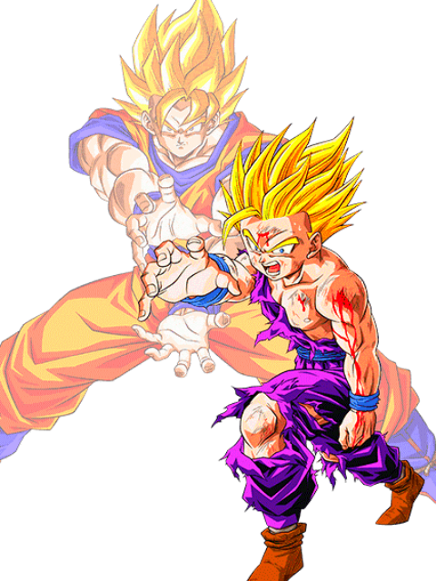 Gohan SS2 and Goku SS1 Kamehameha Father-Son by ...