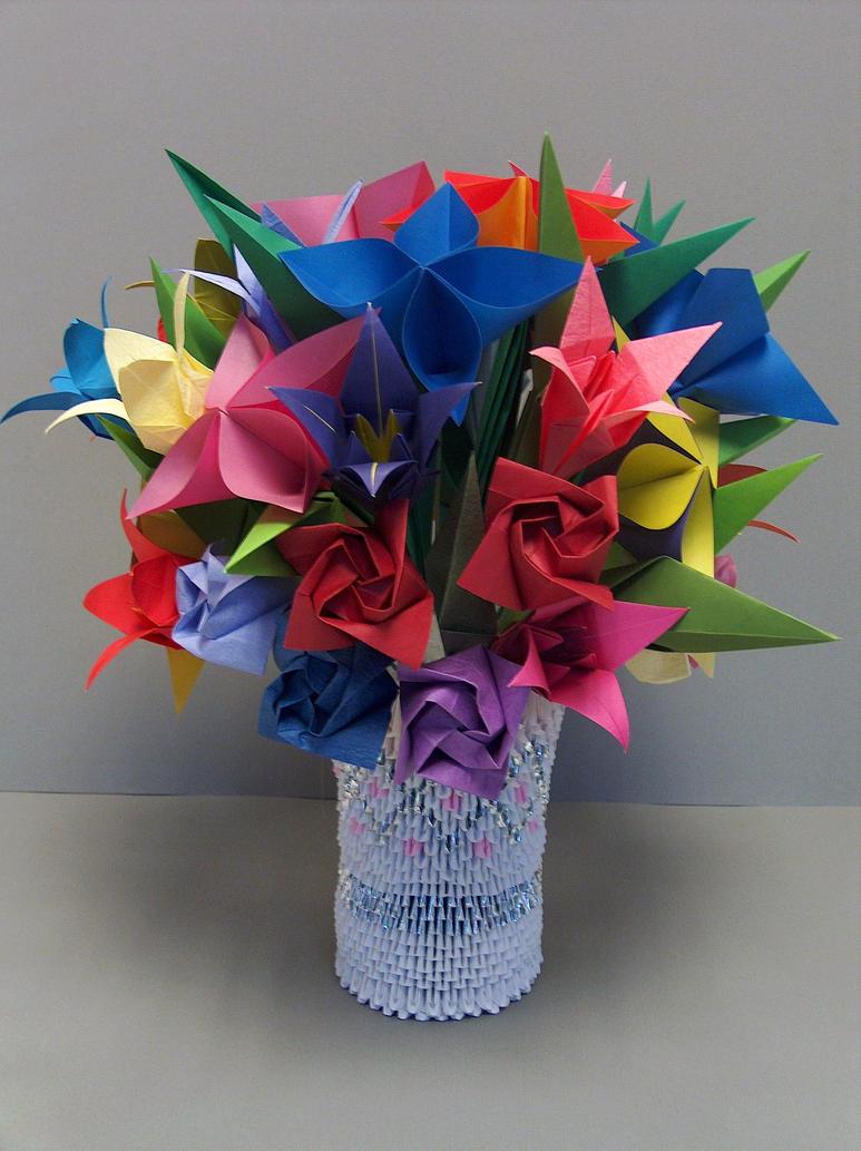 3D Origami: Flowers in Vase 2 by sabrinayen on DeviantArt - photo#5