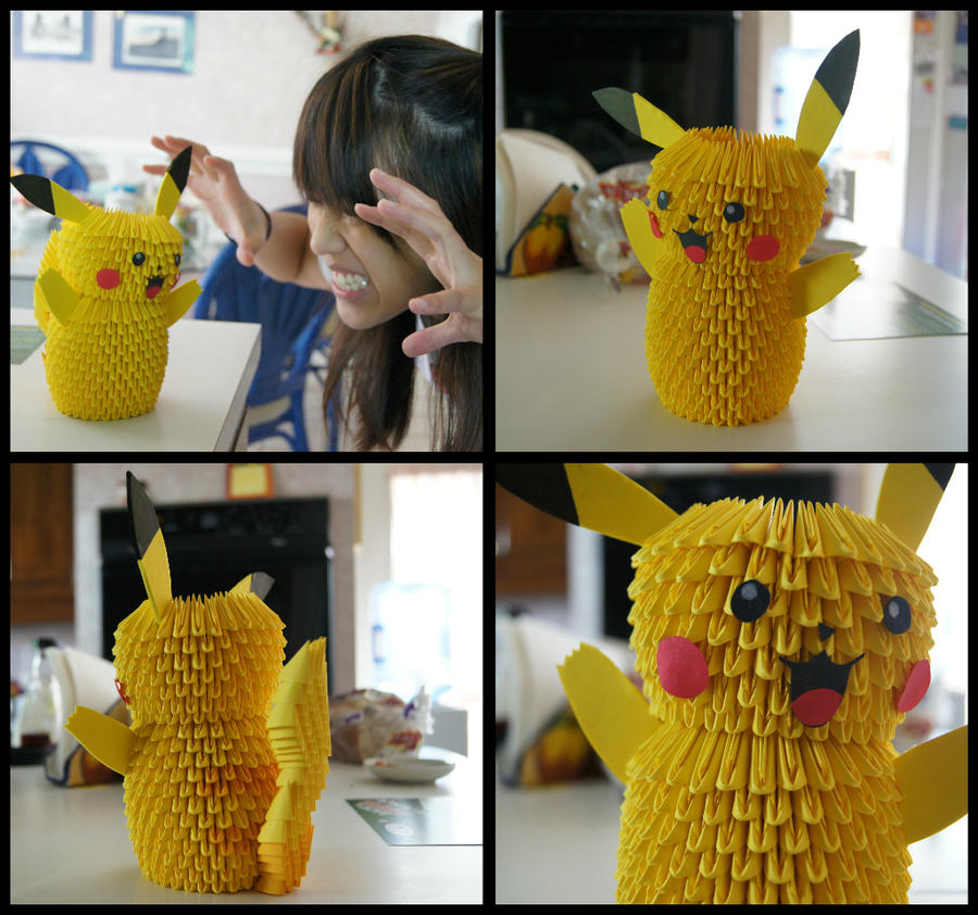 3D Origami Pikachu By Sabrinayen