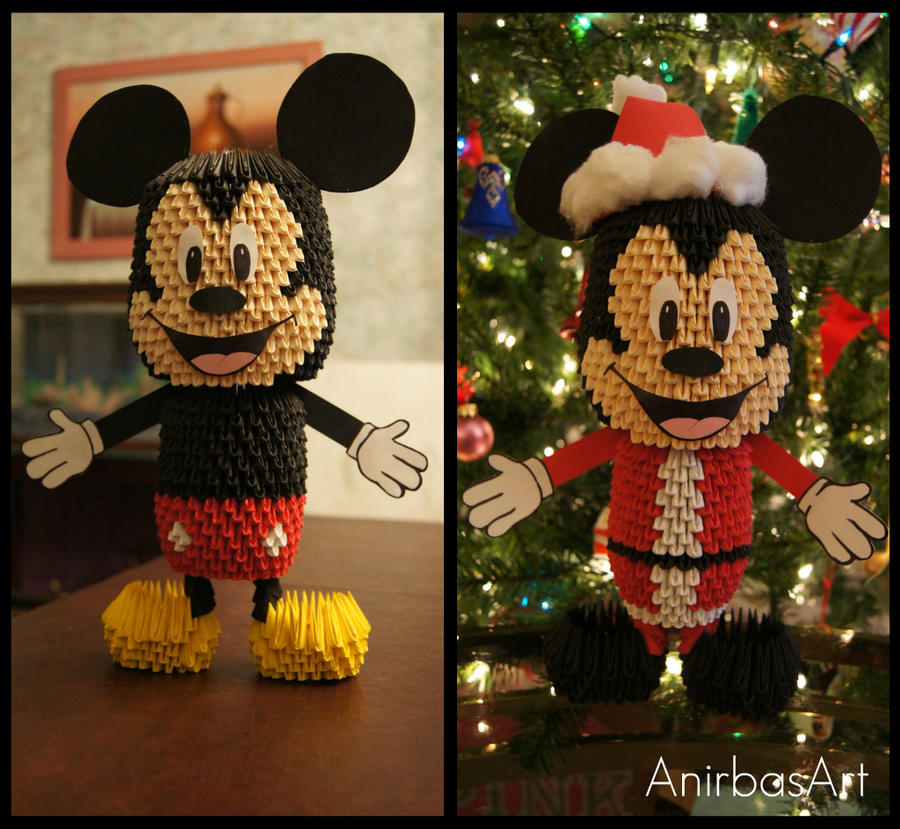 3D Origami: Mickey Mouse by sabrinayen on DeviantArt on