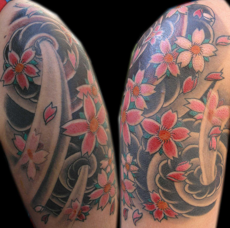 Japanese Wind Tattoo: Wind And Flowers By TattooKame On DeviantArt
