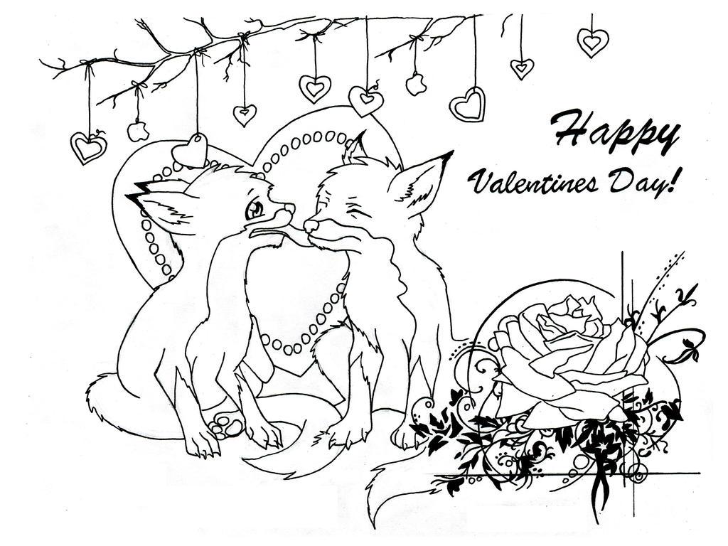 Fox Love - lineart by nykol-haebrd