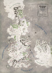 Tolkien-esque Westeros and Essos map by 7Narwen