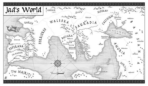 Map of Guy Gavriel Kay fantasy world