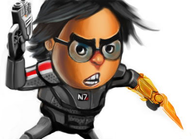 Caricature of myself in commander Shepard costume by Sopeh
