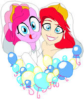Ariel and Pinkie Pie by Tyrranux
