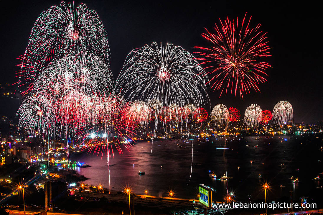 Fireworks in Jounieh, Lebanon by alanove