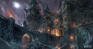 Vampiresque mansion commission.