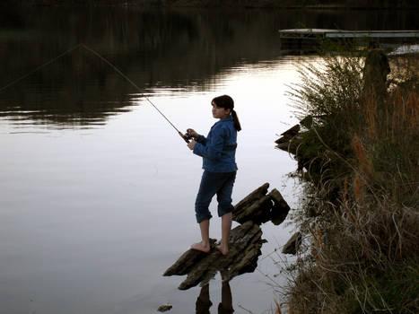 Photo: Barefoot Girl Fishing
