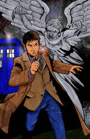 10th Doctor with Weeping Angel by AskGriff