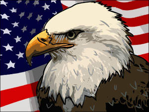 Eagle: Vector Graphic with Flag