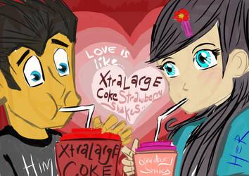 Love is like...xtralargecokes strawberryshakes. by thrudeyes