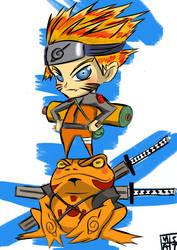 naruto and frog by thrudeyes
