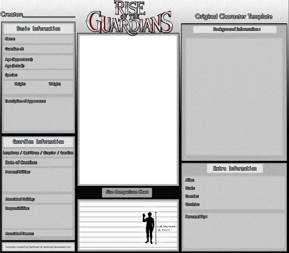 Character information sheet - Original Rotg Character Template By Darthsuki