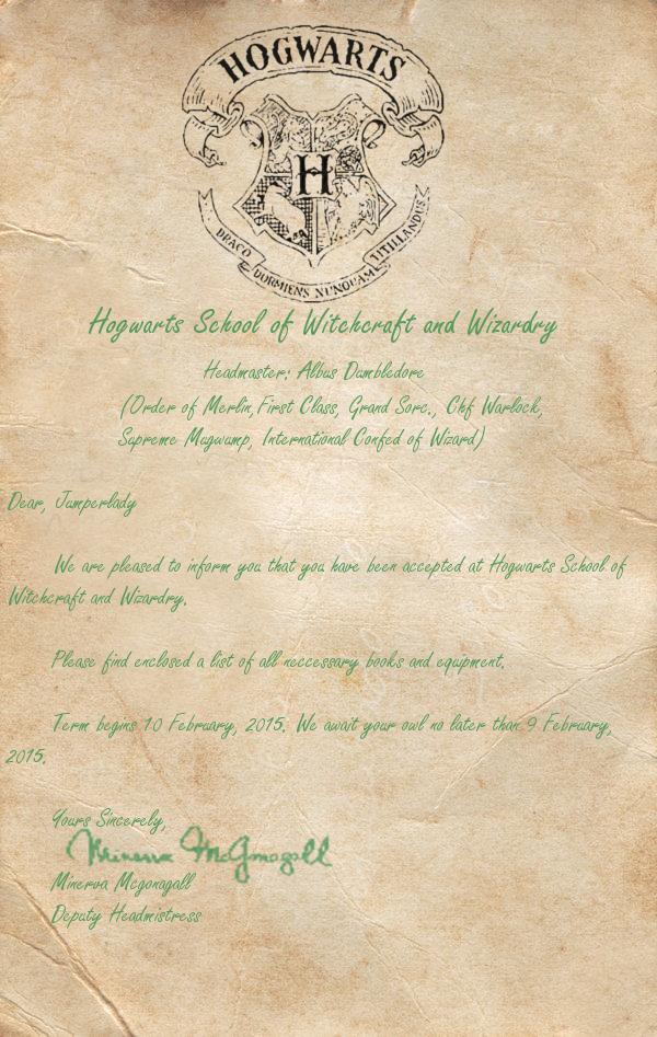 Hogwarts Acceptance Letter for Jumperlady by HogwartsBound on – Hogwarts Acceptance Letter