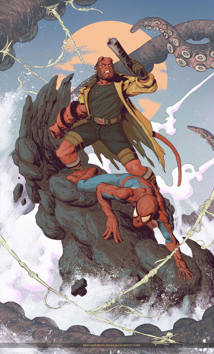 Hellboy and Spiderman by mohammedAgbadi