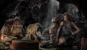 Lara Croft - Hiding from Wolfs by AuraUnity