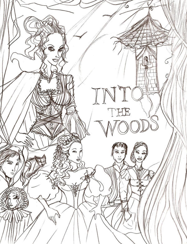 Into the Woods lineart cover by Selinelle on DeviantArt