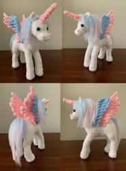 Trans Pride Pony Amigurumi Plush by Kitten-Pie