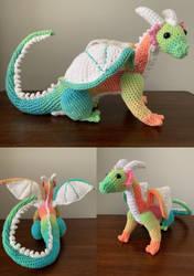 Rainbow Sherbet Dragon Amigurumi Plush