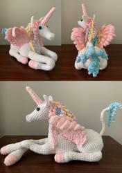 Giant Pastel Unicorn Amigurumi Plush